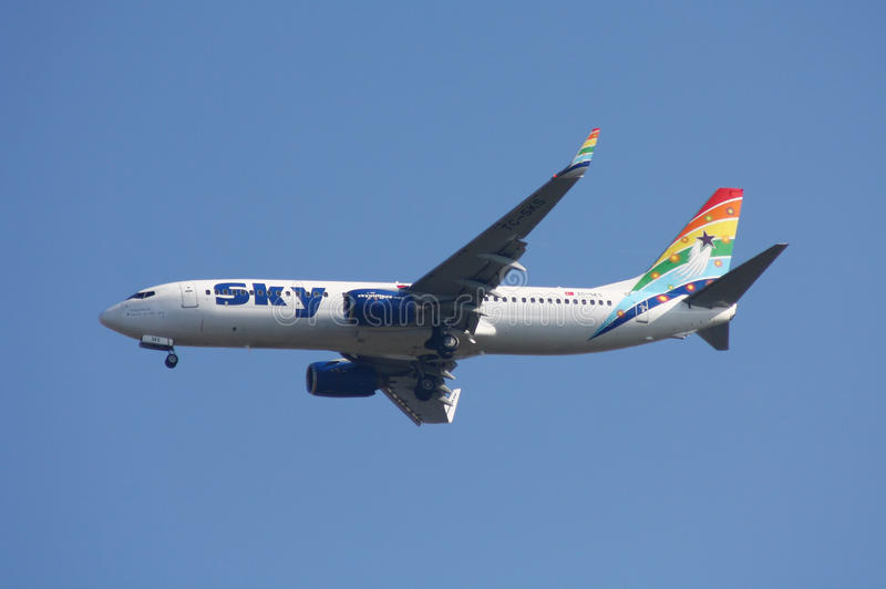 De Luchtvaartlijnen Boeing 737 van de hemel royalty-vrije stock foto's