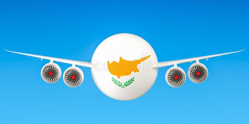 De luchtvaartlijnen en flying& x27 van Cyprus; s concept het 3d teruggeven stock illustratie