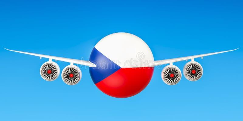De luchtvaartlijnen en flying& x27 van de Tsjechische Republiek; s concept, het 3D teruggeven stock illustratie