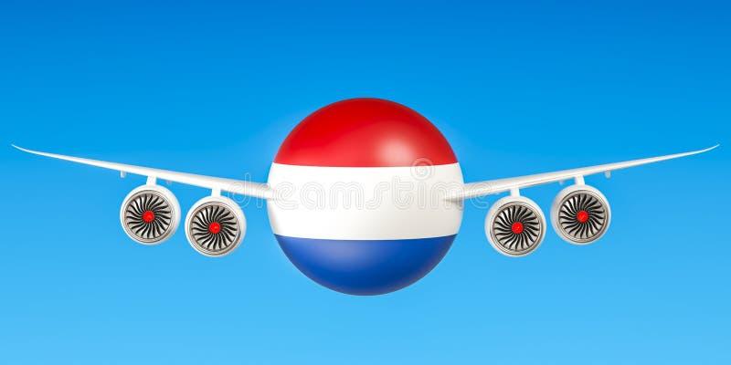 De luchtvaartlijnen en flying& x27 van Nederland; s, het 3D teruggeven royalty-vrije illustratie