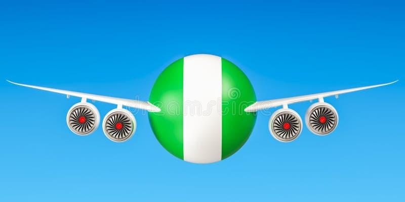 De luchtvaartlijnen en flying& x27 van Nigeria; s concept 3d stock illustratie