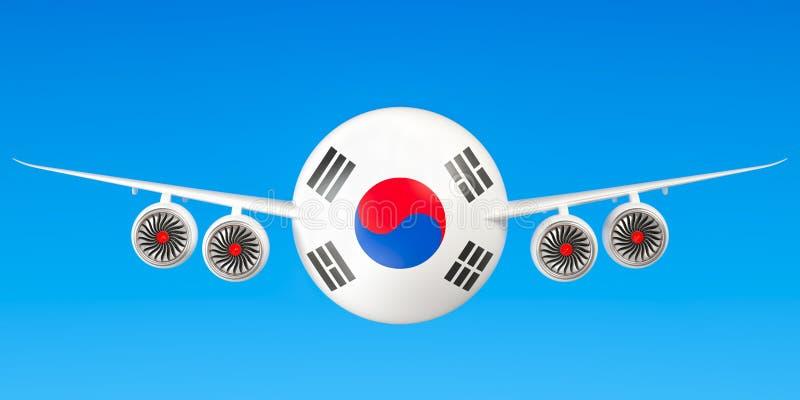 De luchtvaartlijnen en flying& x27 van Zuid-Korea; s concept het 3d teruggeven royalty-vrije illustratie