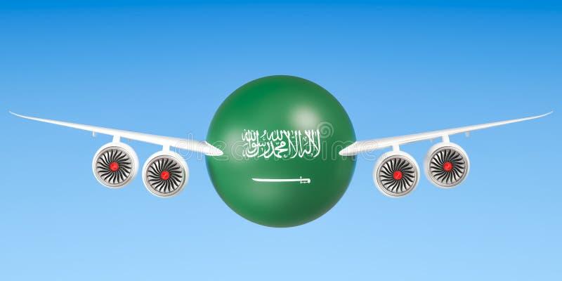 De luchtvaartlijnen van Saudi-Arabië en het vliegen ` s concept het 3d teruggeven royalty-vrije illustratie