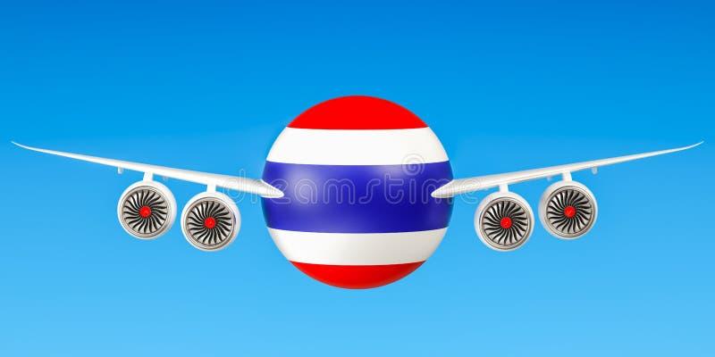 De luchtvaartlijnen van Thailand en het vliegen ` s concept het 3d teruggeven royalty-vrije illustratie