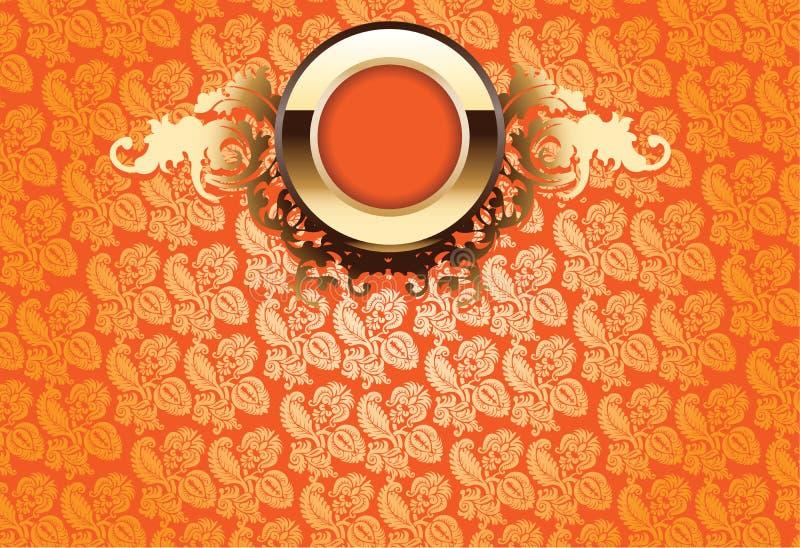 Or de lueur fleuri au-dessus du papier peint orange illustration de vecteur