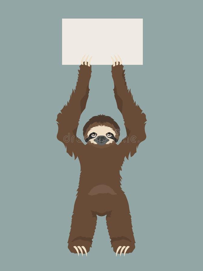 De luiaard houdt een banner Plaats voor uw reclametekst Grappige beeldverhaaldieren vector illustratie