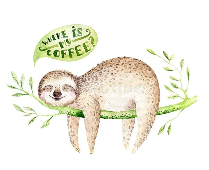 De luiaard van babydieren kinderdagverblijf het geïsoleerde schilderen De tropische tekening van waterverfboho, kind tropische il vector illustratie