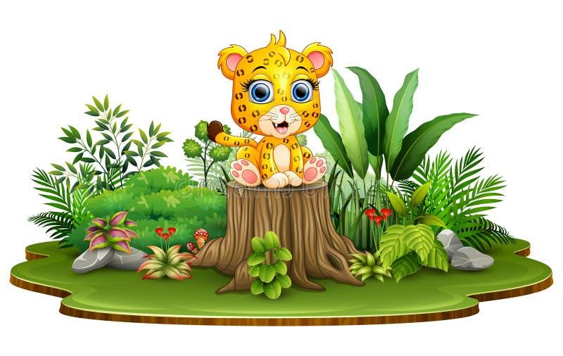 De luipaardzitting van de beeldverhaal gelukkige baby op boomstomp met groene installaties royalty-vrije illustratie