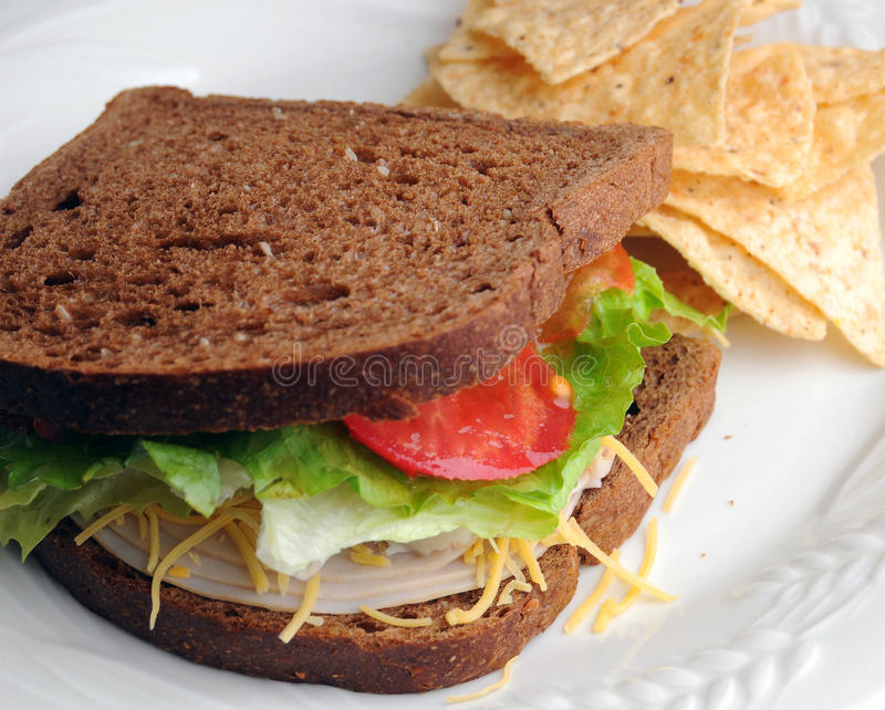 De Lunch van de Sandwich van Turkije stock foto's
