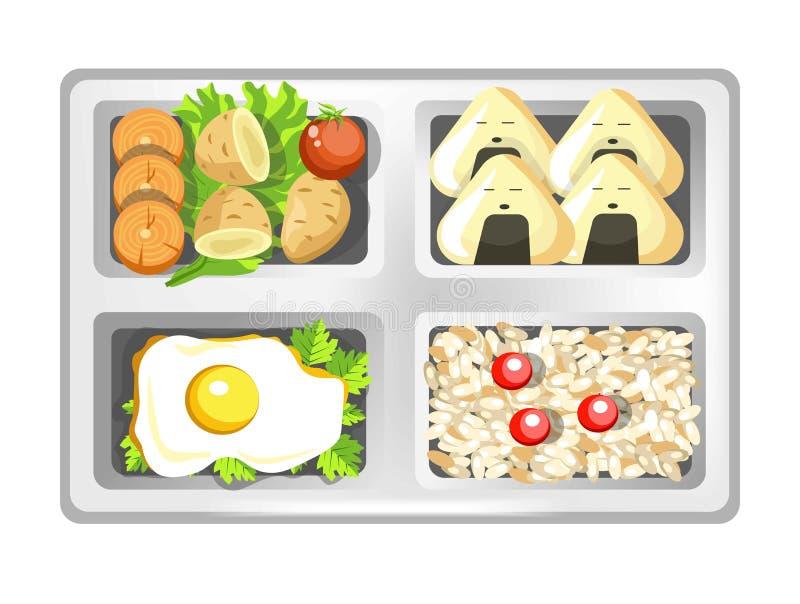 De lunchdoos van de Japanse sushi van de bentomaaltijd rolt, eieren en rijst met salade royalty-vrije illustratie