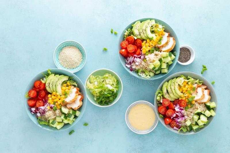 De lunchkommen met geroosterd cgicken vlees, rijst en verse salade van avocado, komkommers, graan, tomaat en ui royalty-vrije stock fotografie