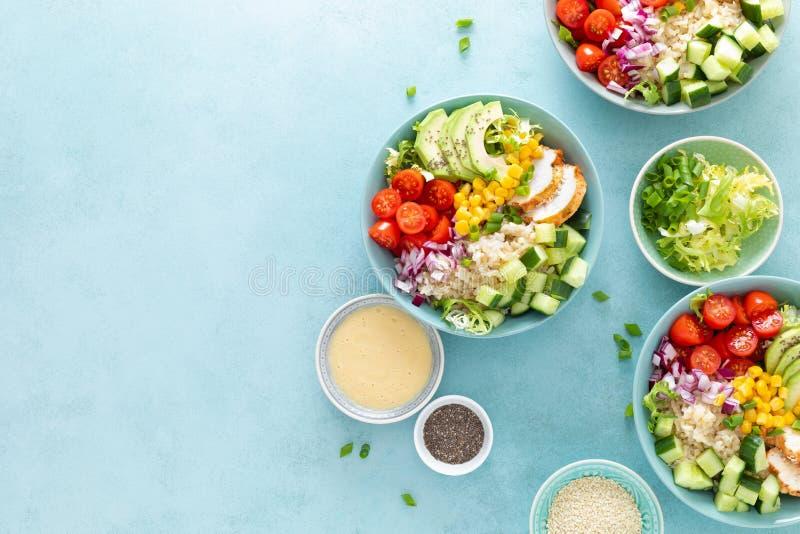 De lunchkommen met geroosterd cgicken vlees, rijst en verse salade van avocado, komkommers, graan, tomaat en ui royalty-vrije stock afbeeldingen