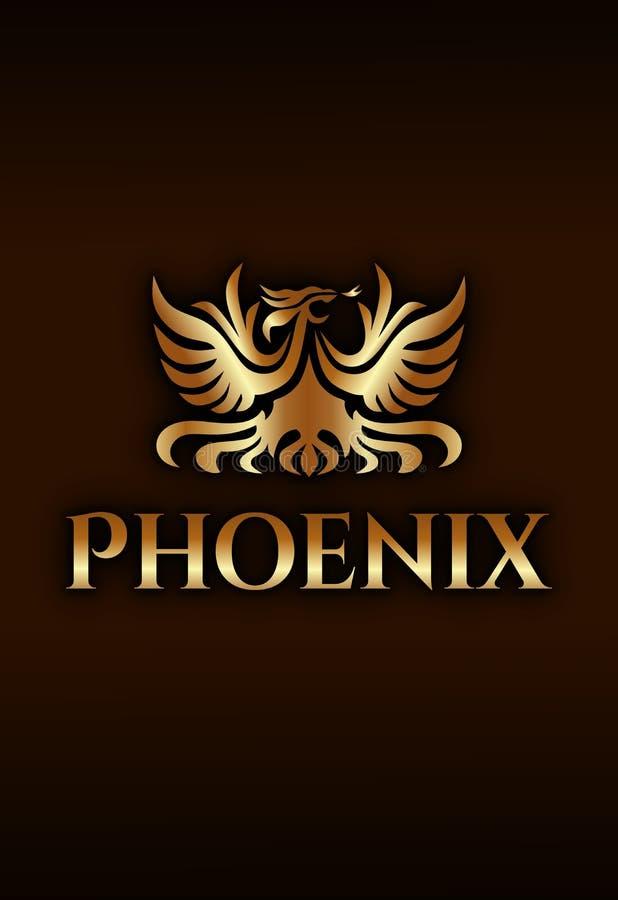 De luxe vector gouden embleem van Phoenix op donkere bruine achtergrond stock illustratie