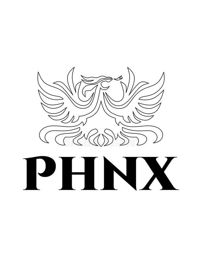 De luxe vector zwart contour geschetst die embleem van Phoenix op witte achtergrond wordt geïsoleerd royalty-vrije illustratie