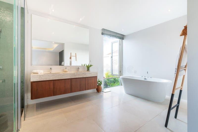 De luxebadkamers kenmerkt bassin en badkuiphuis, huis, de bouw royalty-vrije stock afbeelding