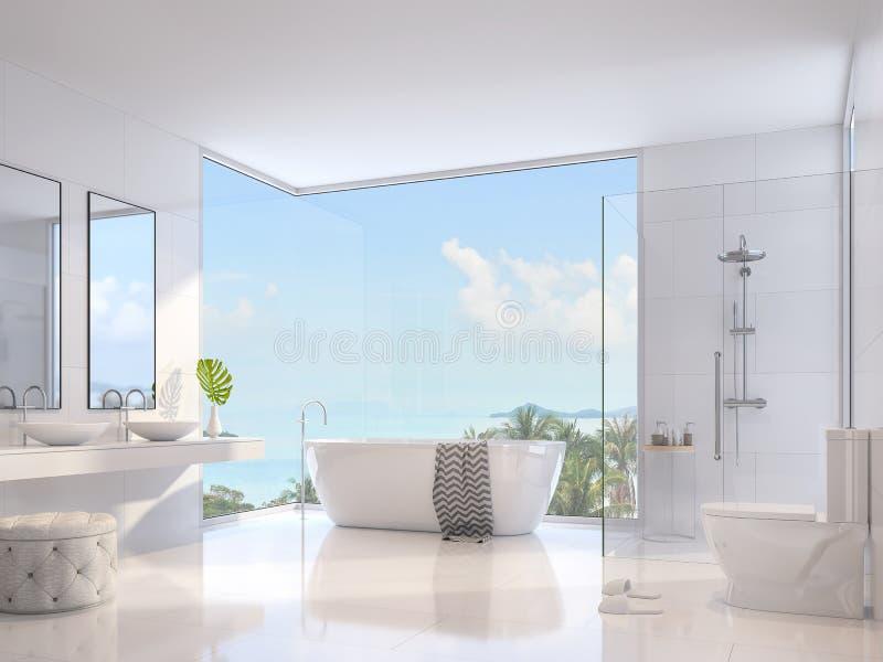 De luxebadkamers met overzeese 3d mening geeft terug stock illustratie