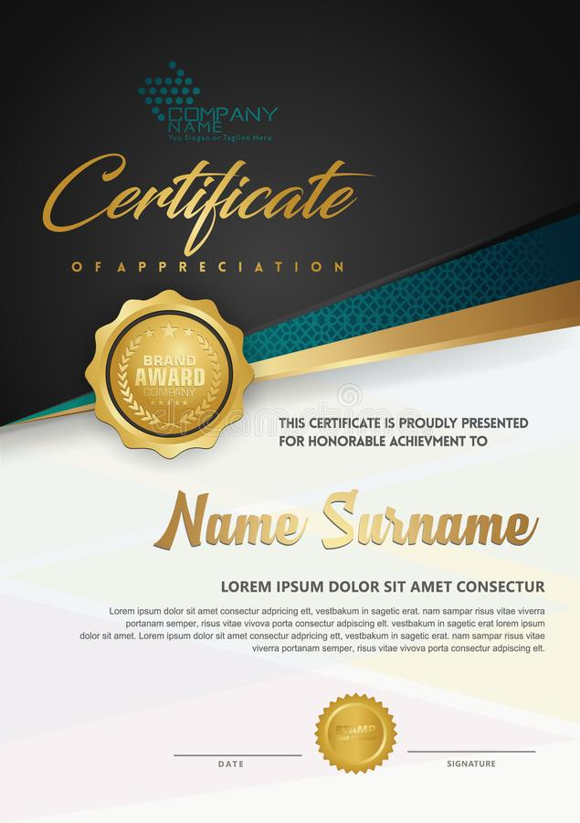 De luxecertificaatsjabloon van het premiediploma met futuristische en elegante patroonachtergrond vector illustratie