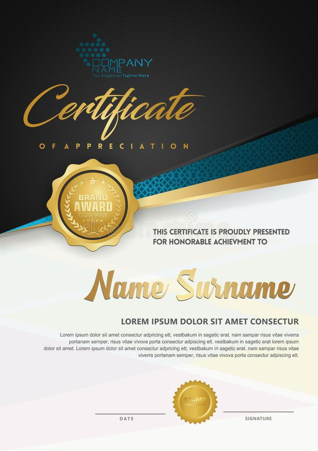 De luxecertificaatsjabloon van het premiediploma met futuristische en elegante patroonachtergrond stock illustratie