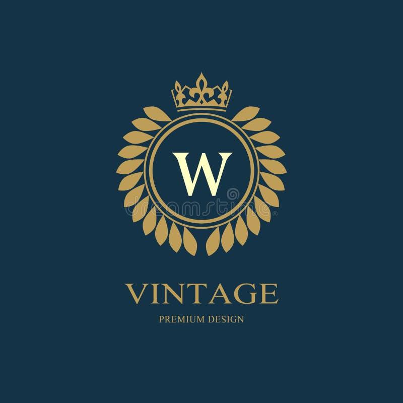 De luxeontwerp van het kroonmonogram, bevallig malplaatje Bloemen elegant mooi rond embleem met kroon Het teken W van het brieven vector illustratie