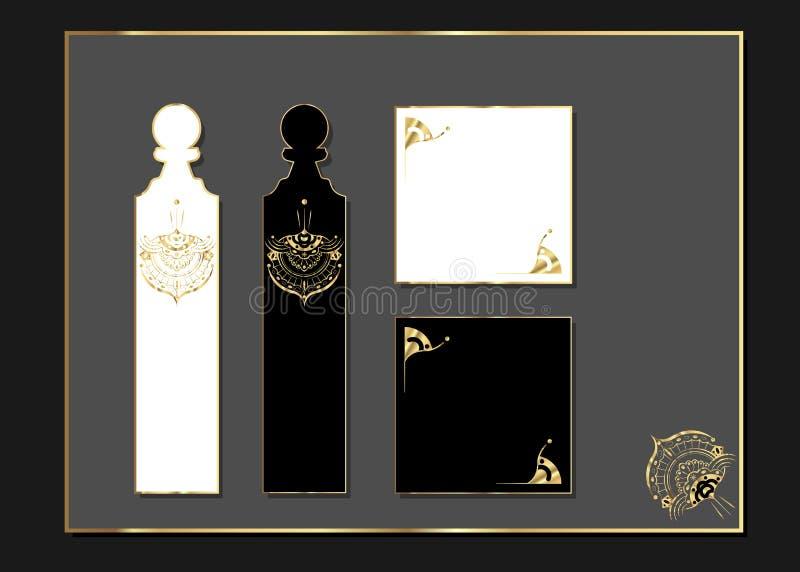 De Luxeontwerp van de laserbesnoeiing met geaccentueerd goud Gouden reeks overladen kaarten Luxemalplaatje voor groetkaart, huwel stock illustratie