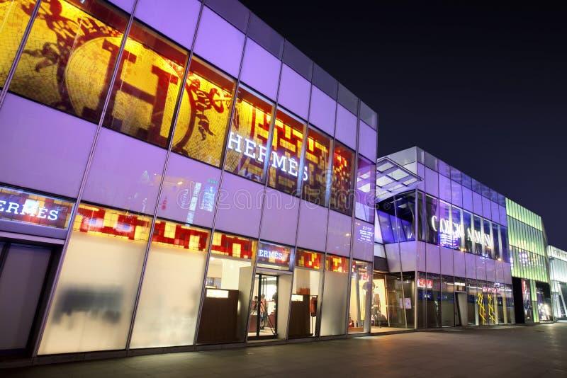 De luxueuze afzet van Hermes in Dalian, China stock foto's