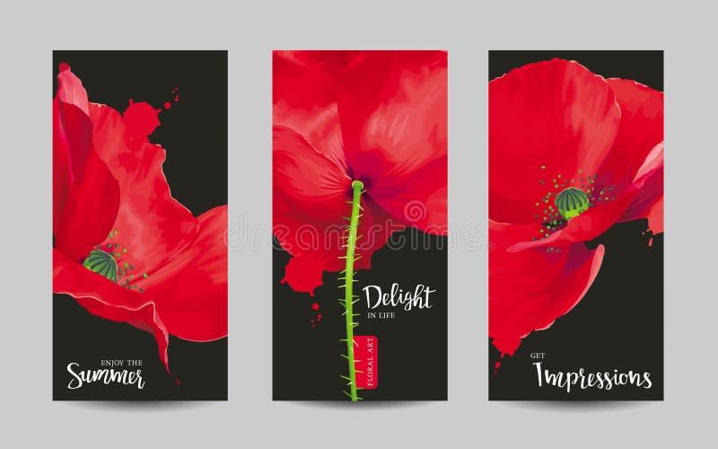 De luxueuze heldere rode vectordiePapaver bloeit schilderijen op zwarte worden geplaatst vector illustratie
