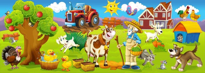 De lyckliga djuren på lantgården royaltyfri illustrationer