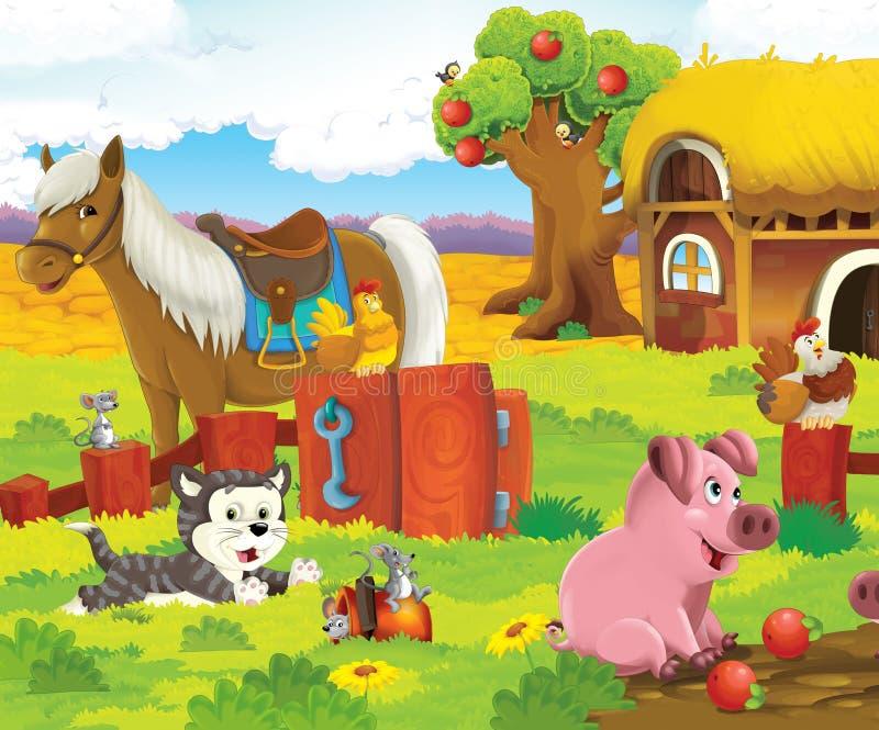 De lyckliga djuren på lantgården vektor illustrationer