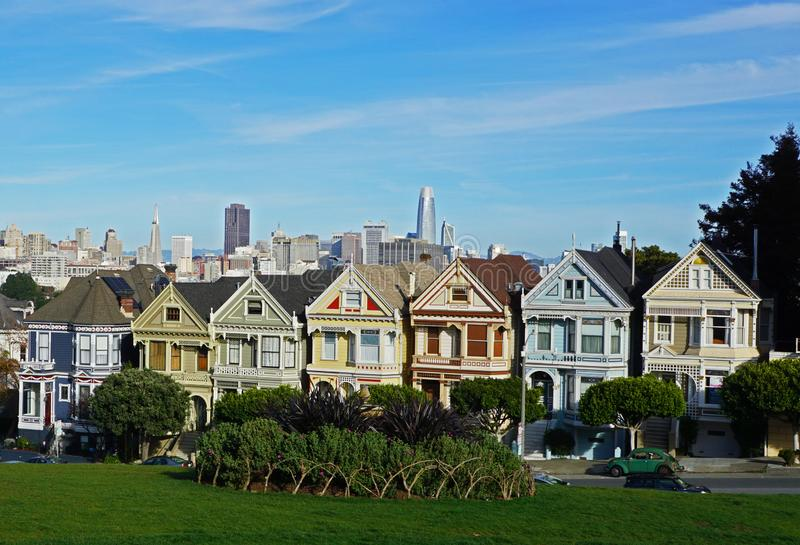 De målade damhusen i San Francisco royaltyfri bild