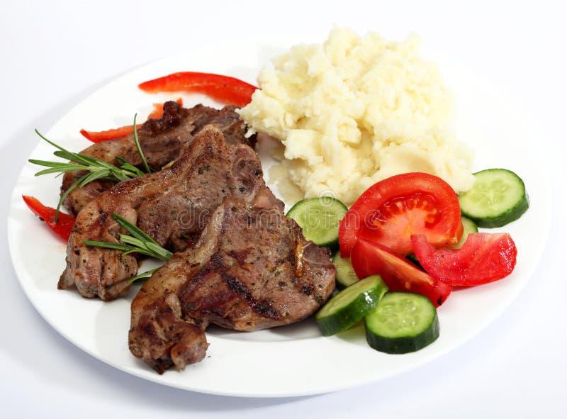 De maaltijd van de lamskotelet stock fotografie