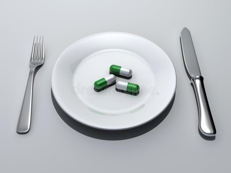 De maaltijd van pillen royalty-vrije illustratie