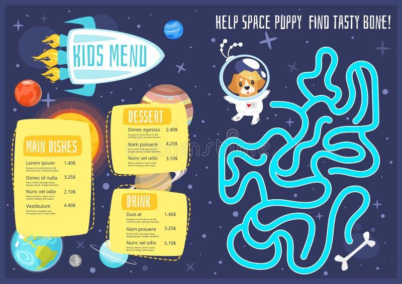 De maaltijdmalplaatje van het kinderenmenu royalty-vrije illustratie