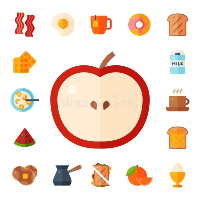 De maaltijdpictogrammen van het ontbijt drinkt de gezonde voedsel vlakke van de het eilunch van het ontwerpbrood van het het vlee vector illustratie