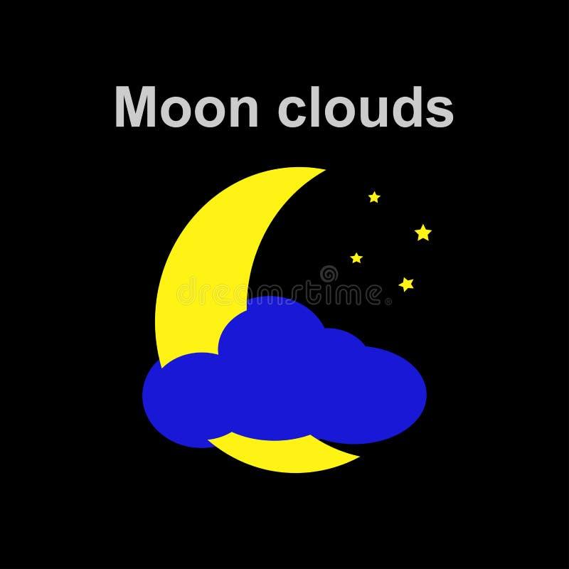 De maan betrekt en speelt pictogram in vlakke stijl op zwarte mee vector illustratie