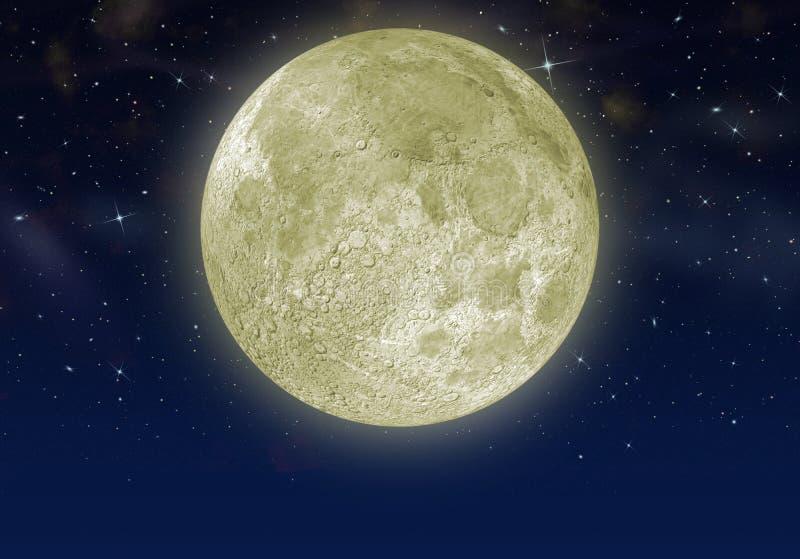 De maan in de sterhemel vector illustratie