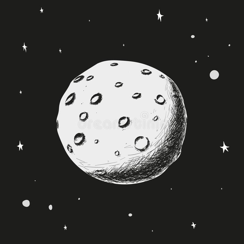 De maan drijft tegen de sterrige hemel stock foto