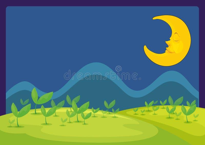 De maan in een mooie nacht stock illustratie