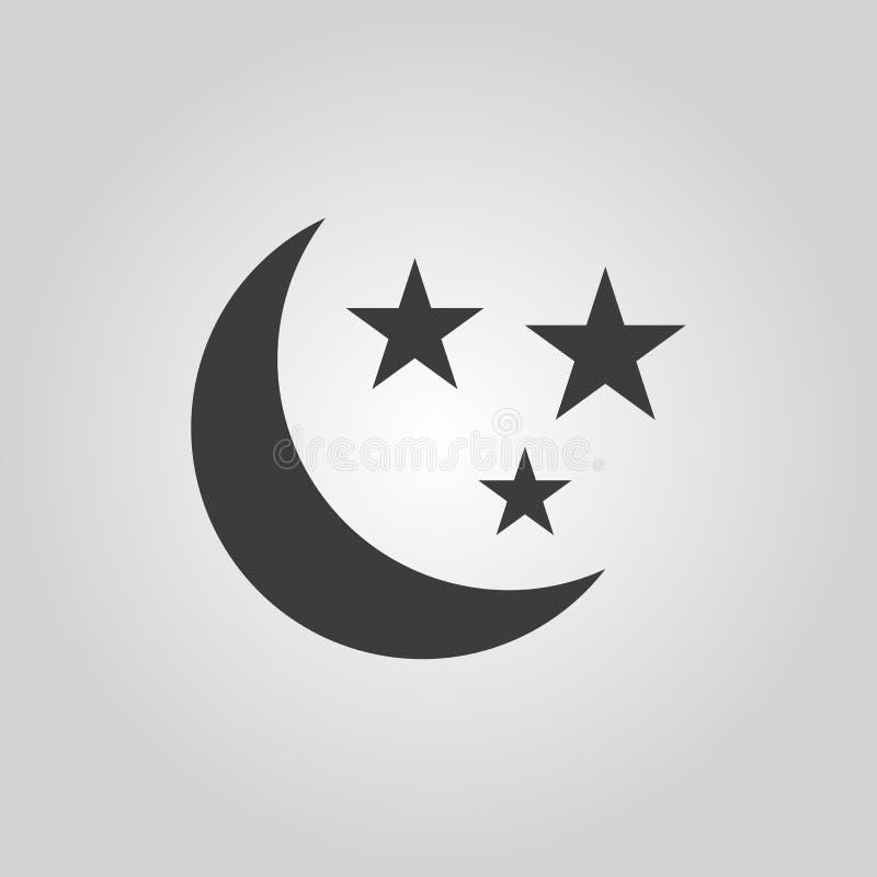 De maan en het sterrenpictogram Nacht, slaapsymbool vlak stock illustratie