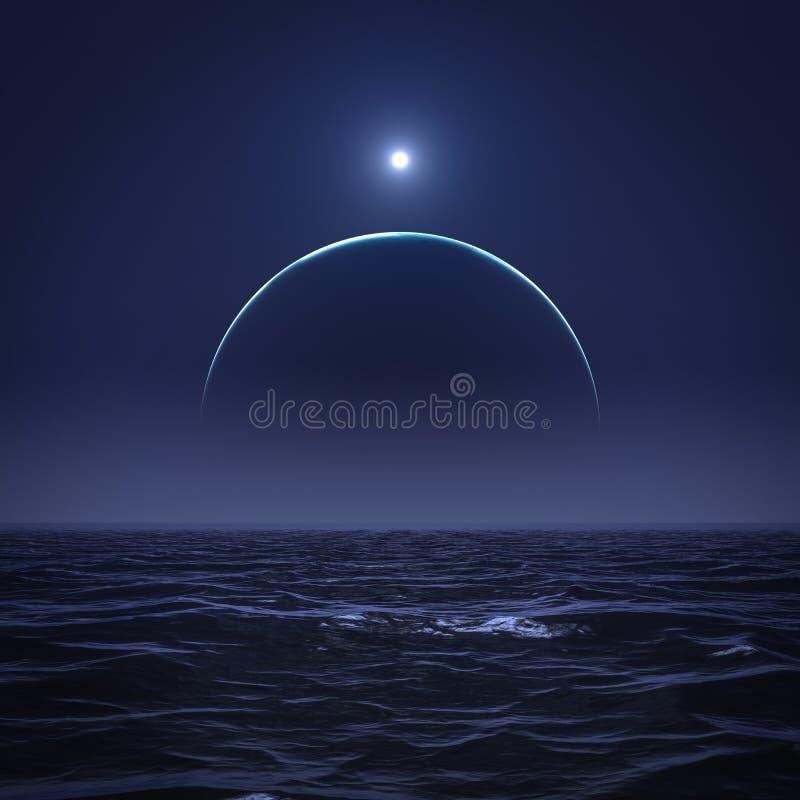 De maan en de zon over de oceaan stock illustratie