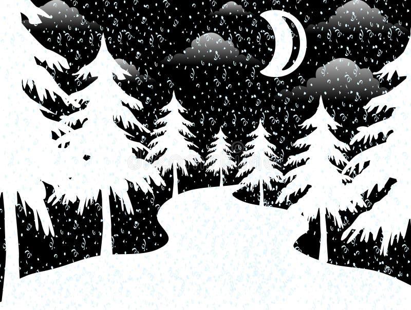 De maan in Kerstmisnacht royalty-vrije illustratie