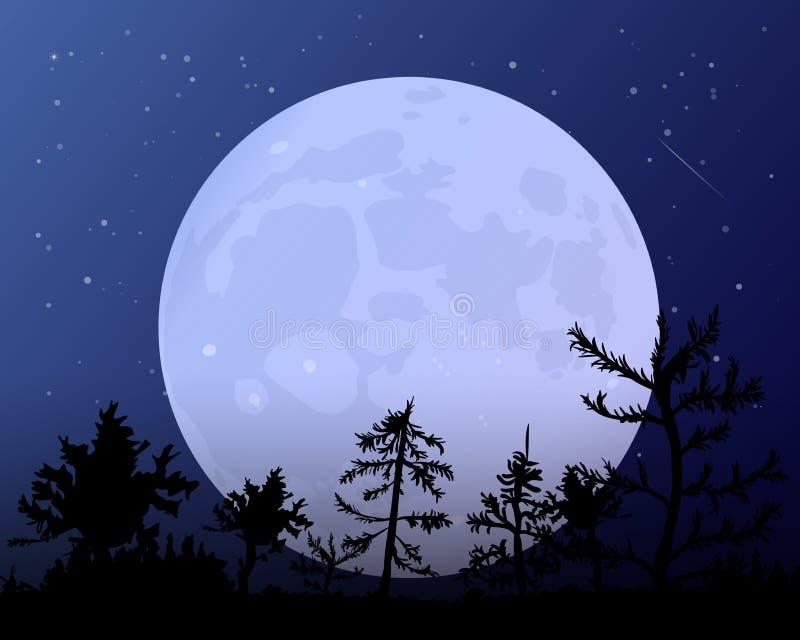 De maan tegen het blauw van de nachthemel royalty-vrije illustratie