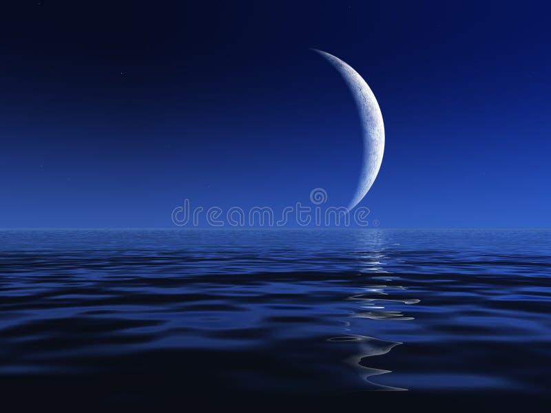 De Maan van de nacht over Water royalty-vrije illustratie