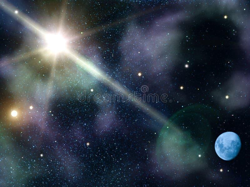 De maan van de nachtsterren van de hemel stock illustratie