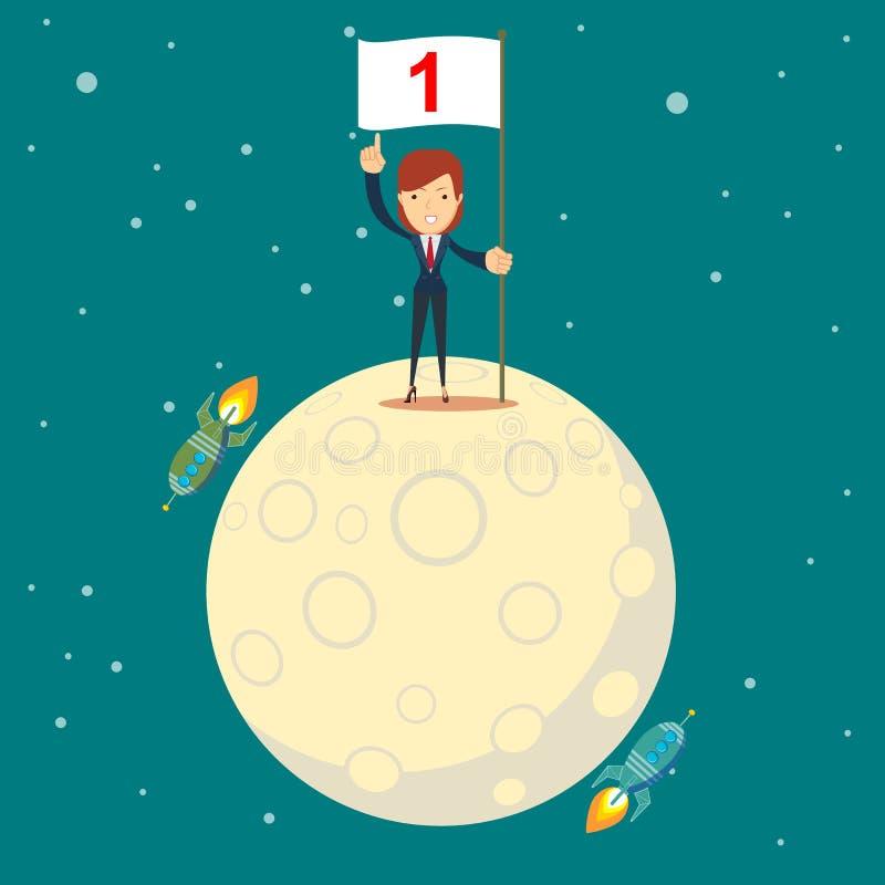 De maan van het astronautenmeisje het landen royalty-vrije illustratie