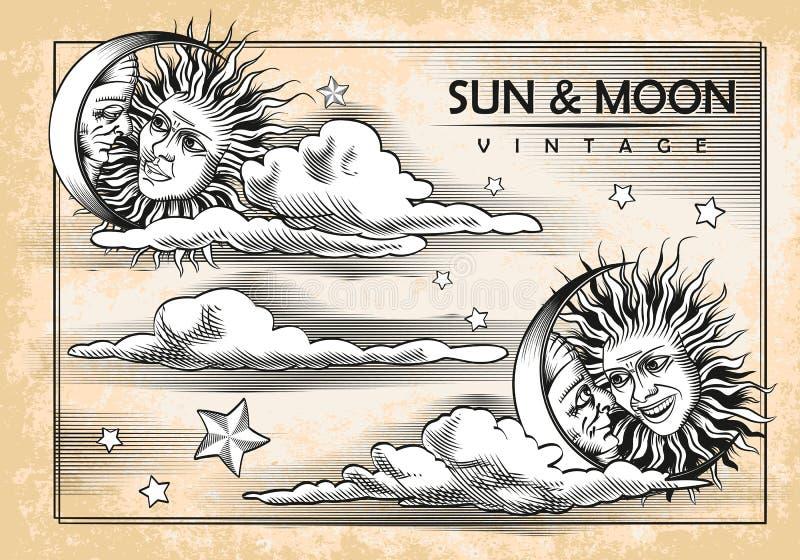 De maan, zon, wolken Reeks uitstekende elementen stock illustratie