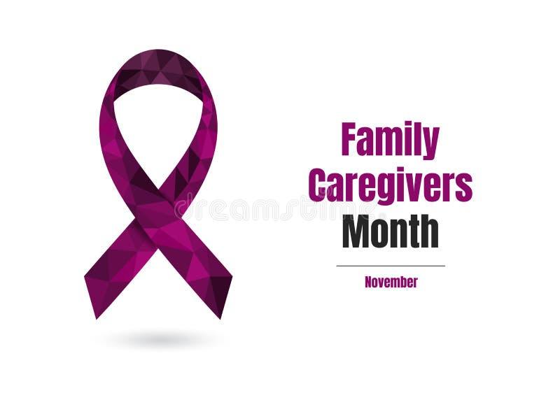 De Maand van familieverzorgers met pruim purper lint royalty-vrije illustratie