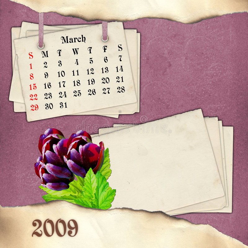 De maand van Maart. Pagina van kalender in scrapbooki royalty-vrije stock afbeelding