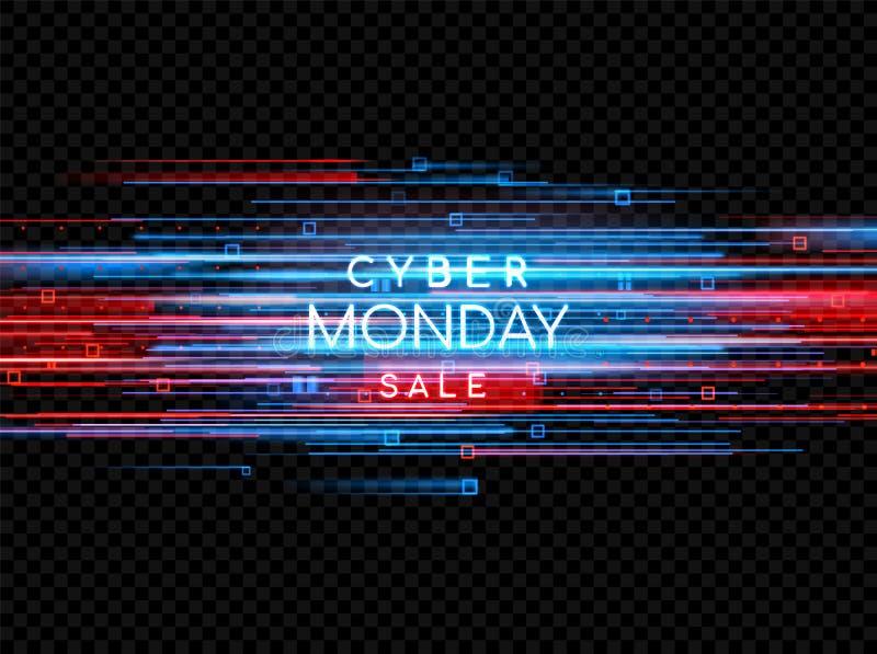 De Maandag van Cyber Promotie online verkoopgebeurtenis Vectortechnologieillustratie vector illustratie
