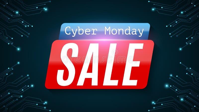 De Maandag van Cyber Super verkoop Hi-tech gloeiende blauwe kringsraad Webbanner voor uw project Modern ontwerp Vector illustrati royalty-vrije illustratie