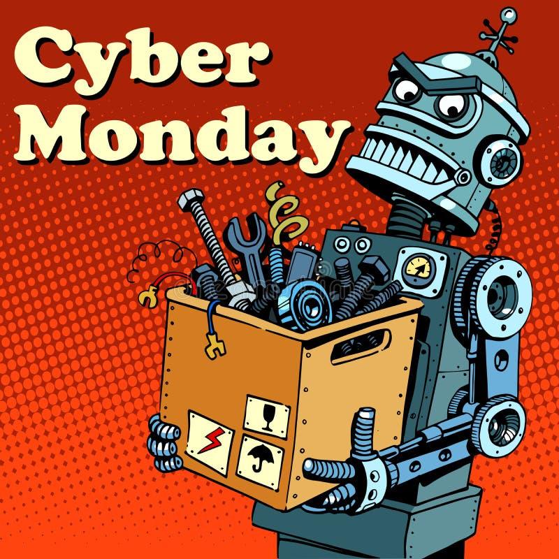 De Maandaggadgets en elektronika van robotcyber stock illustratie